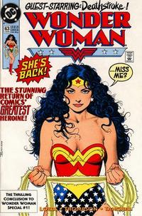 Cover for Wonder Woman (DC, 1987 series) #63