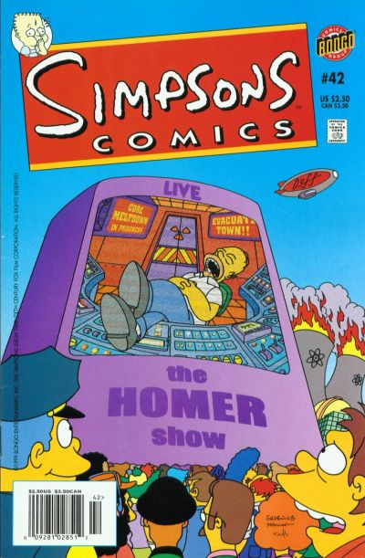 Cover for Simpsons Comics (Bongo, 1993 series) #42 [Newsstand Edition]