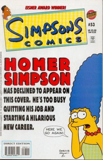 Cover for Simpsons Comics (Bongo, 1993 series) #53