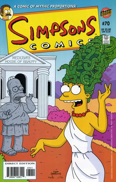 Cover for Simpsons Comics (Bongo, 1993 series) #70