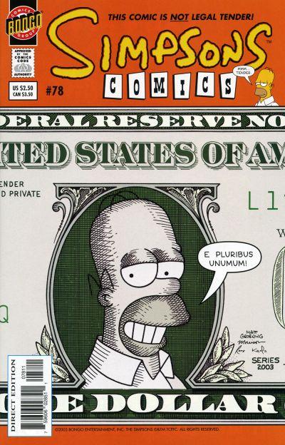 Cover for Simpsons Comics (Bongo, 1993 series) #78