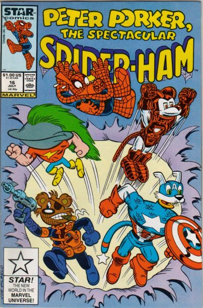 Cover for Peter Porker, the Spectacular Spider-Ham (Marvel, 1985 series) #16 [Newsstand Edition]