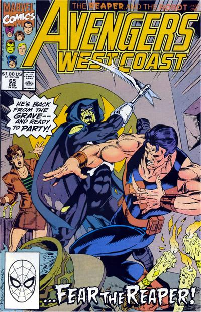 Cover for Avengers West Coast (Marvel, 1989 series) #65 [Direct Edition]