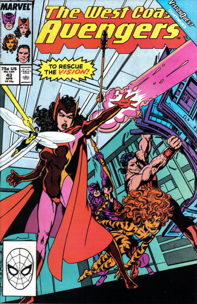 Cover for West Coast Avengers (Marvel, 1985 series) #43 [Direct Edition]