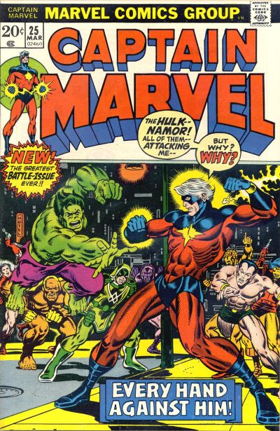 Cover for Captain Marvel (Marvel, 1968 series) #25 [Regular Edition]