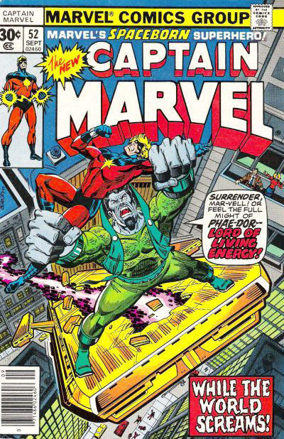 Cover for Captain Marvel (Marvel, 1968 series) #52 [30¢ Cover Price]