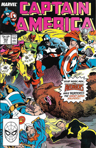 Cover for Captain America (Marvel, 1968 series) #352 [Direct]
