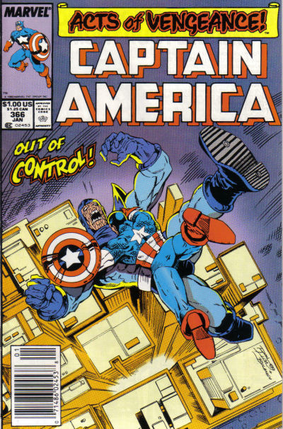 Cover for Captain America (Marvel, 1968 series) #366 [Direct Edition]