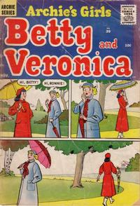Cover Thumbnail for Archie's Girls Betty and Veronica (Archie, 1950 series) #39