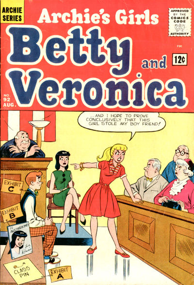Cover for Archie's Girls Betty and Veronica (Archie, 1950 series) #92