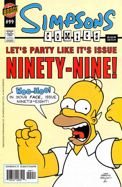 Cover for Simpsons Comics (Bongo, 1993 series) #99