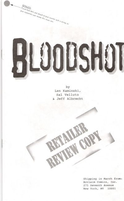 Cover for Bloodshot (Acclaim / Valiant, 1997 series) #1 [Preview Ashcan]
