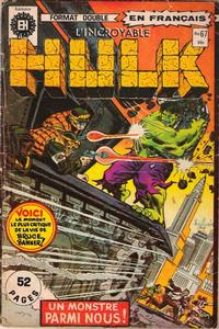 Cover Thumbnail for L'Incroyable Hulk (Editions Héritage, 1968 series) #67