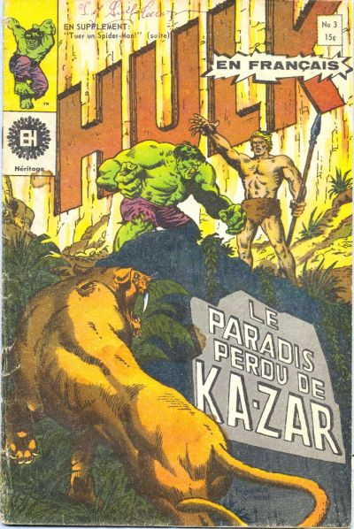 Cover for L'Incroyable Hulk (Editions Héritage, 1968 series) #3
