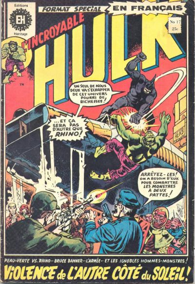 Cover for L' Incroyable Hulk (Editions Héritage, 1968 series) #17