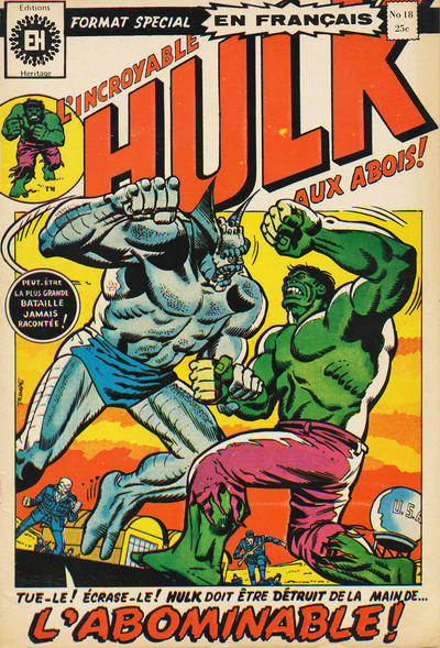 Cover for L'Incroyable Hulk (Editions Héritage, 1968 series) #18