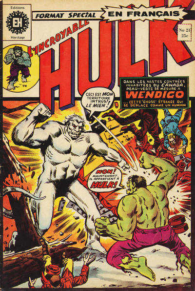 Cover for L' Incroyable Hulk (Editions Héritage, 1968 series) #21