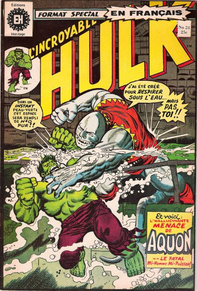 Cover for L'Incroyable Hulk (Editions Héritage, 1968 series) #24