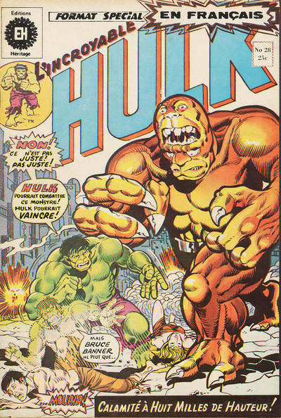 Cover for L'Incroyable Hulk (Editions Héritage, 1968 series) #28