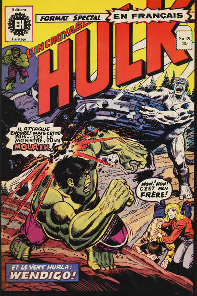 Cover for L' Incroyable Hulk (Editions Héritage, 1968 series) #39
