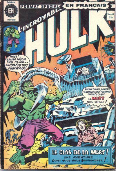 Cover for L'Incroyable Hulk (Editions Héritage, 1968 series) #44