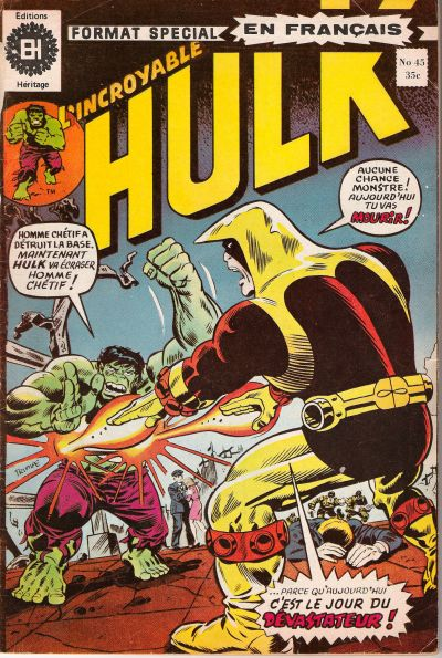 Cover for L'Incroyable Hulk (Editions Héritage, 1968 series) #45
