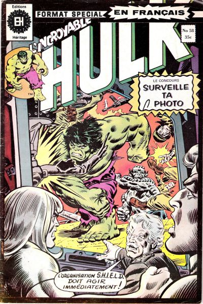 Cover for L'Incroyable Hulk (Editions Héritage, 1968 series) #58