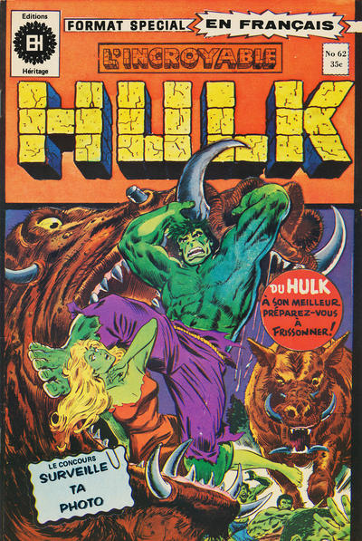 Cover for L' Incroyable Hulk (Editions Héritage, 1968 series) #62
