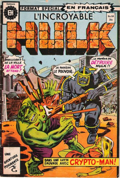 Cover for L'Incroyable Hulk (Editions Héritage, 1968 series) #64