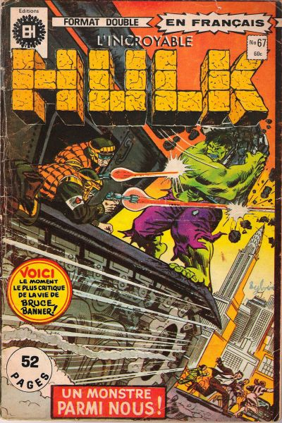 Cover for L' Incroyable Hulk (Editions Héritage, 1968 series) #67