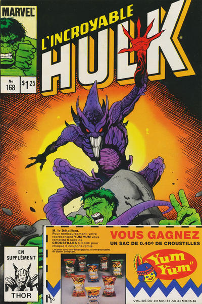 Cover for L'Incroyable Hulk (Editions Héritage, 1968 series) #168