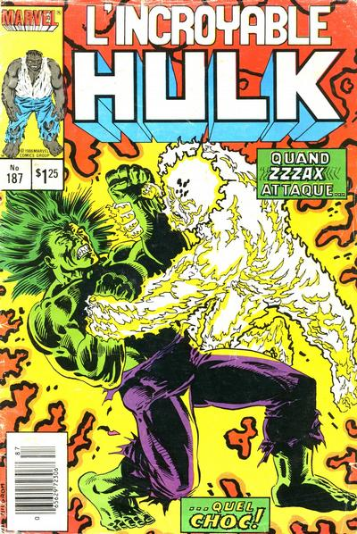 Cover for L'Incroyable Hulk (Editions Héritage, 1968 series) #187