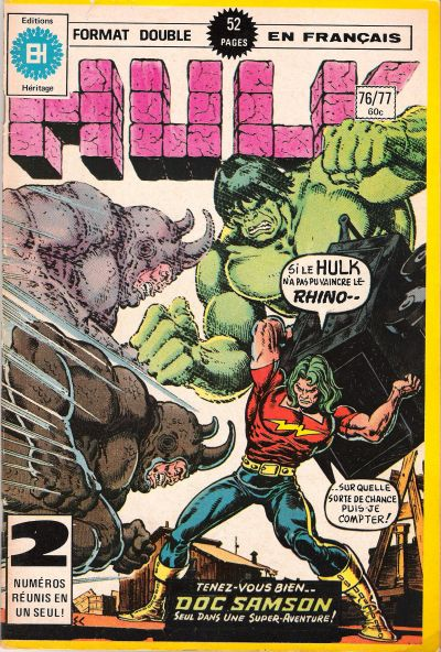 Cover for L' Incroyable Hulk (Editions Héritage, 1968 series) #76/77