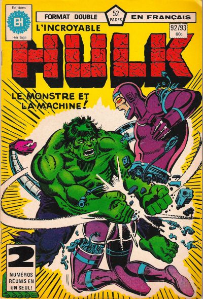 Cover for L'Incroyable Hulk (Editions Héritage, 1968 series) #92/93
