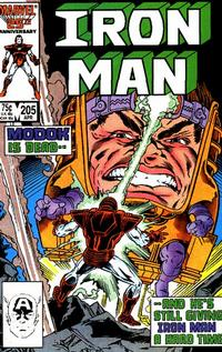 Cover for Iron Man (Marvel, 1968 series) #205 [Direct Edition]