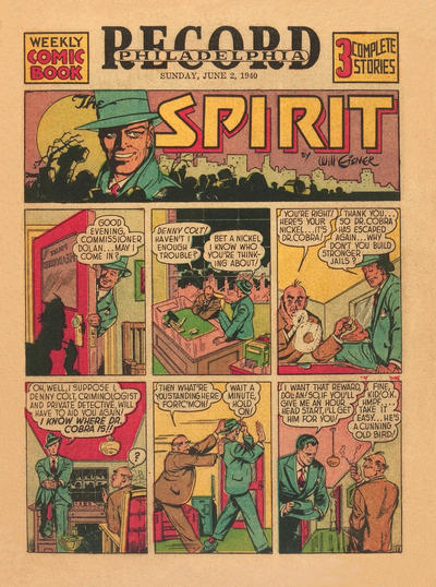 Cover for The Spirit (Register and Tribune Syndicate, 1940 series) #6/2/1940