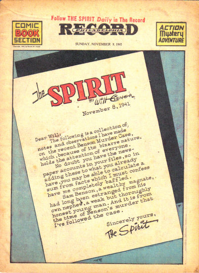Cover for The Spirit (Register and Tribune Syndicate, 1940 series) #11/9/1941