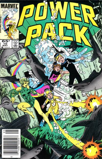 Cover for Power Pack (Marvel, 1984 series) #10 [Newsstand Edition]