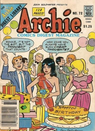 Cover for Archie Comics Digest (Archie, 1973 series) #72