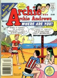 Cover Thumbnail for Archie... Archie Andrews, Where Are You? Comics Digest Magazine (Archie, 1977 series) #63