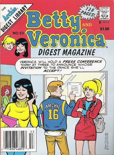 Cover for Betty and Veronica Comics Digest Magazine (Archie, 1983 series) #53