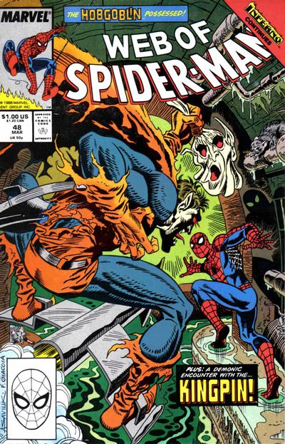Cover for Web of Spider-Man (Marvel, 1985 series) #48 [Direct Edition]