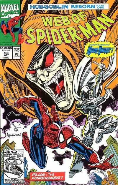 Cover for Web of Spider-Man (Marvel, 1985 series) #93 [Direct Edition]