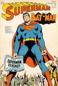 Cover Thumbnail for Superman (Egmont Ehapa, 1966 series) #21/1971