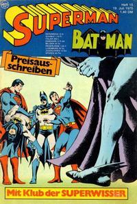 Cover Thumbnail for Superman (Egmont Ehapa, 1966 series) #15/1975