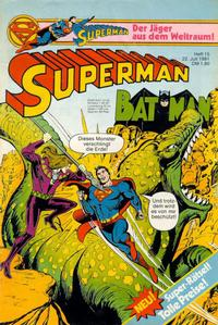 Cover Thumbnail for Superman (Egmont Ehapa, 1966 series) #15/1981