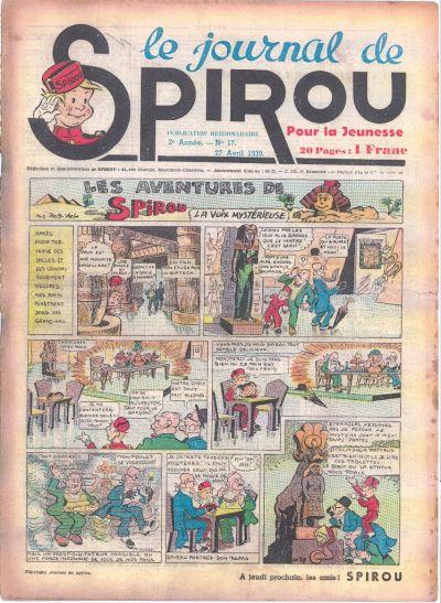Cover for Le Journal de Spirou (Dupuis, 1938 series) #17/1939