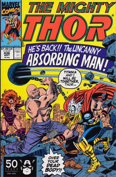 Cover for Thor (Marvel, 1966 series) #436 [Newsstand Edition]