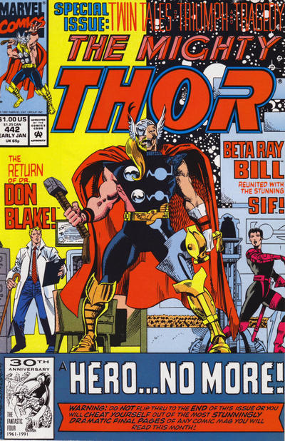 Cover for Thor (Marvel, 1966 series) #442 [Newsstand Edition]