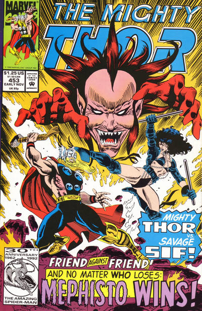Cover for Thor (Marvel, 1966 series) #453 [Newsstand Edition]